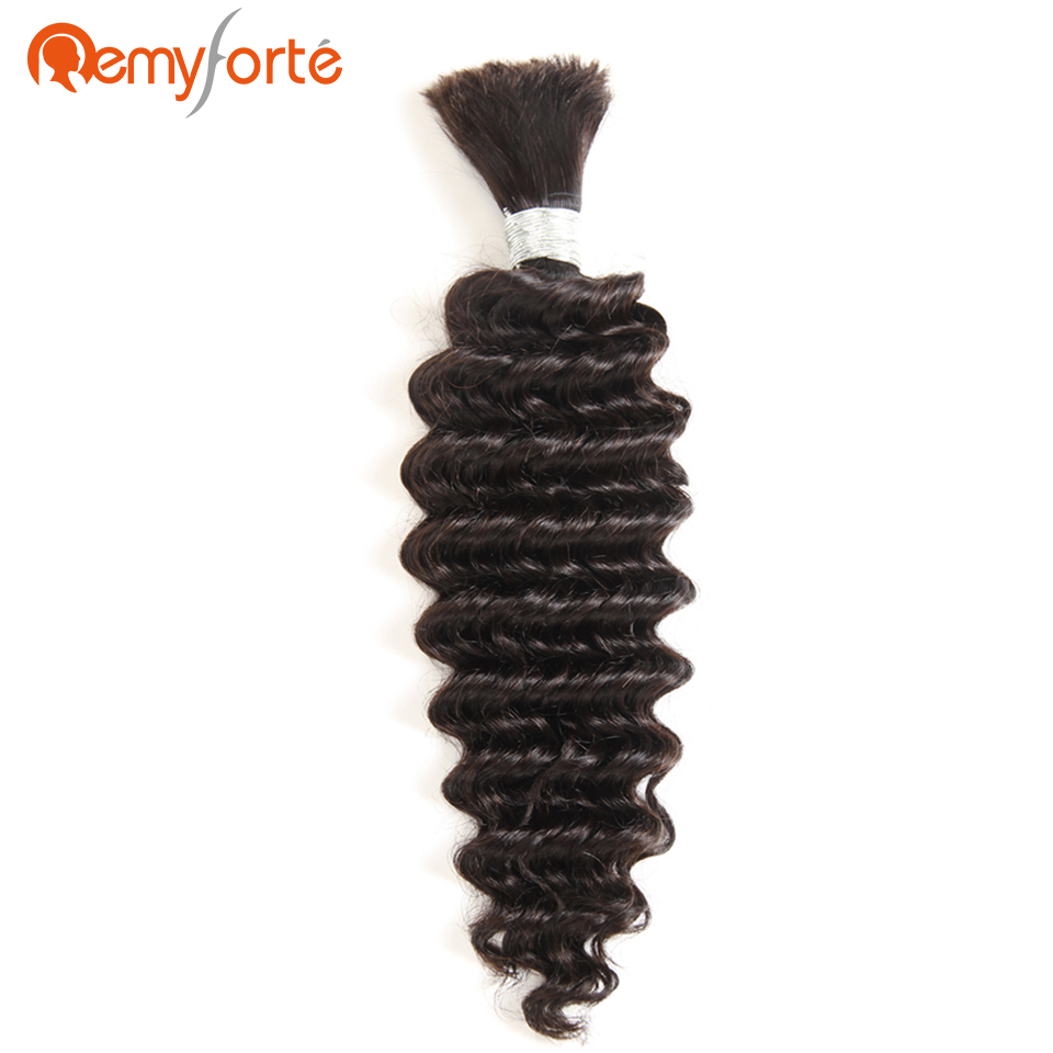 Remy Forte Hair No Weft Crochet Braids Human Hair 10 To 30 Inch Natural Color Brazilian Deep Wave Human Bulk Hair For Braiding