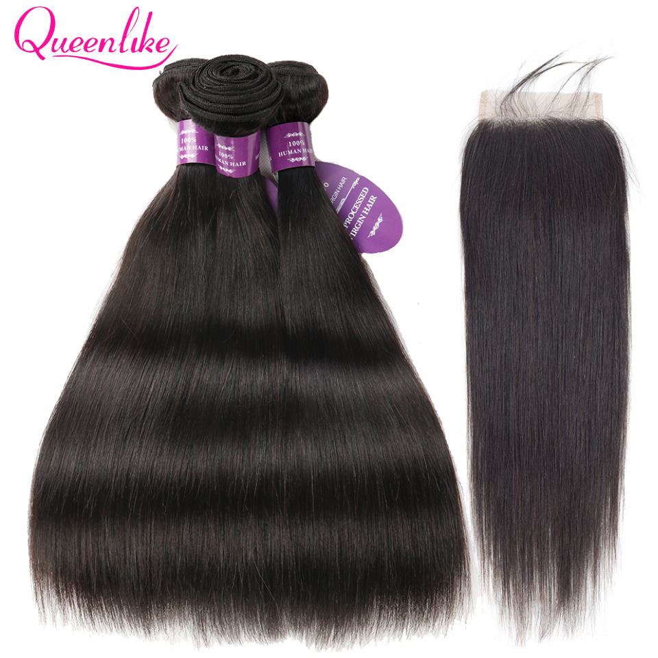 QueenLike Hair Products 3 Real Human Hair Bundles With Closure Color 1B Non Remy Peruvian Straight