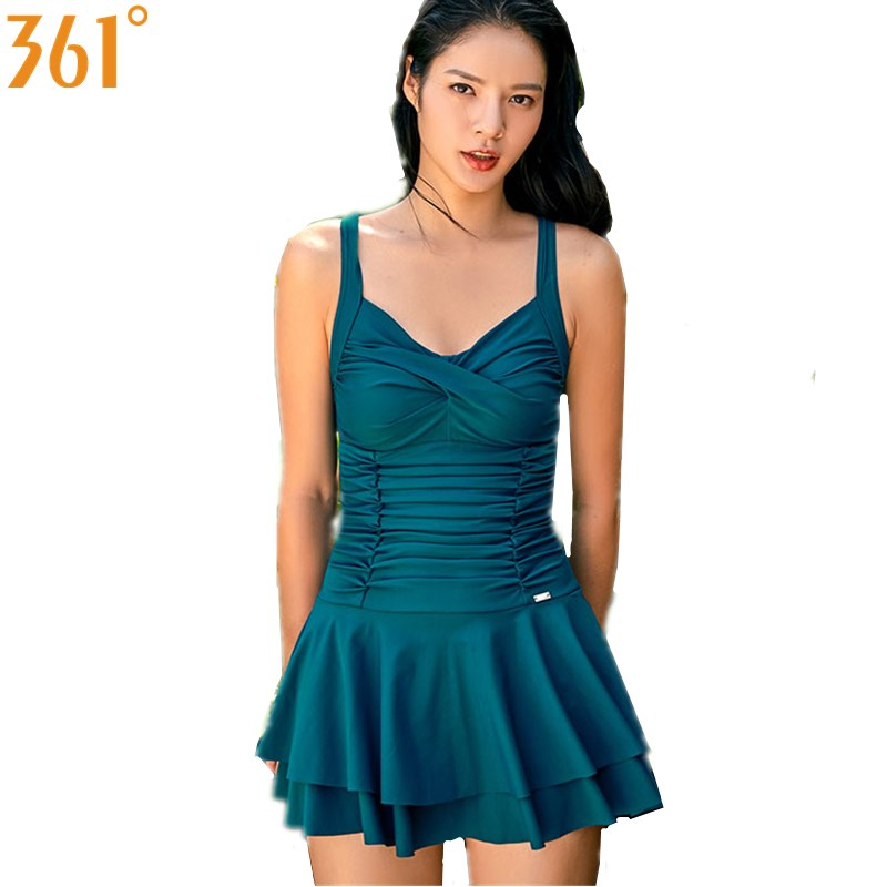 delicate colors new high quality more photos US $24.18 38% OFF|361 One Piece Swimsuit with Skirt Women 2018 Plus Size  Conservative Swim Dress Female Bathing Suit Japanese Ladies Swimming  Suit-in ...