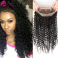Mongolian Kinky Curly 360 Lace Frontal Pre Plucked Frontal 360 Lace Virgin Hair Human 360 Band Closures With Adjustable Straps