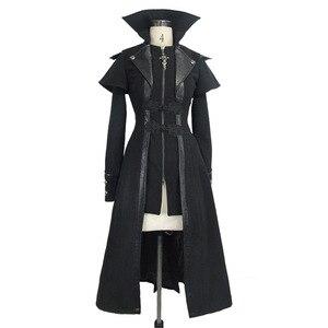 Image 4 - שטן אופנה Steampunk סתיו חורף נשים גותי ארוך מעיל פאנק שחור ארוך שרוולים עבה מעילי מעילי מעילי Slim