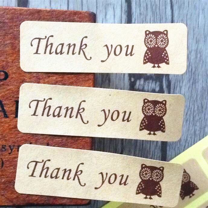 120PCS/Lot Vintage thank you series Owl Kraft Rectangle gift seal Sticker for baking Handmade Products Students' DIY label 3d laser cut pop up greeting cards happy birthday postcards vintage chic retro peacock thank you gift message cards for girl