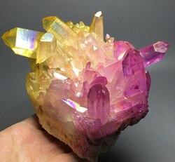 802g więcej kolor Aura kwarcowy kryształ tytanu bizmutu krzemu klastra Rainbow kryształy terapeutyczne w Kamienie od Dom i ogród na