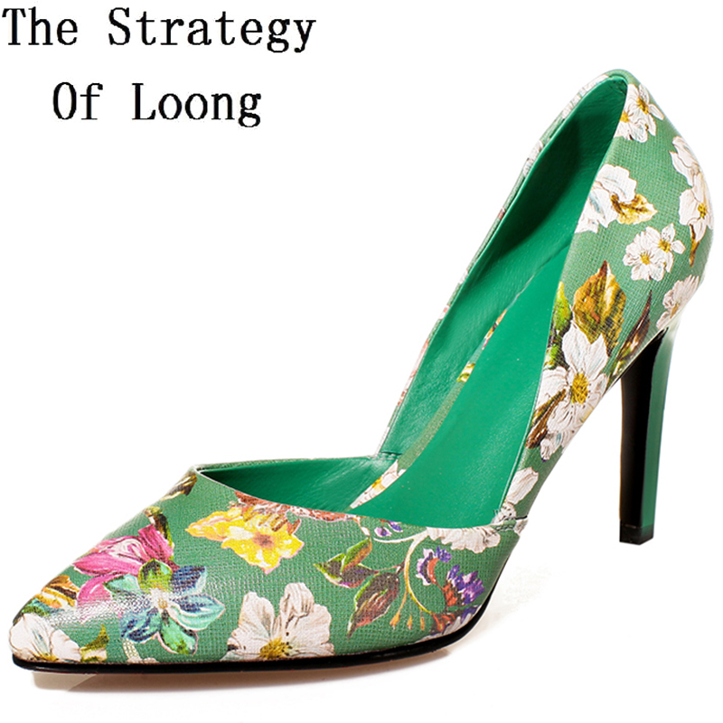 Summer Full Grain Leather Printing Leather Flowers Pointed Toe Lady High Heels Shoes Genuine Leather Thin Heels 2016 New Shoes