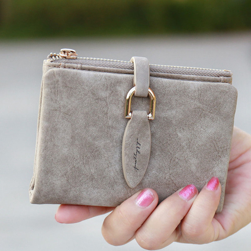 Fashion Women Short Purses Scrub Leather Female Wallet Perse Card Holder Coin Money Bag Soft Dollar Price Ladies Wallet Small