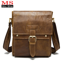 MS. QIUSHA Rindleder-echtes Leder Tasche Mann bag Schulter Umhängetasche herren Aktentaschen Handtasche Männlichen Casual mode