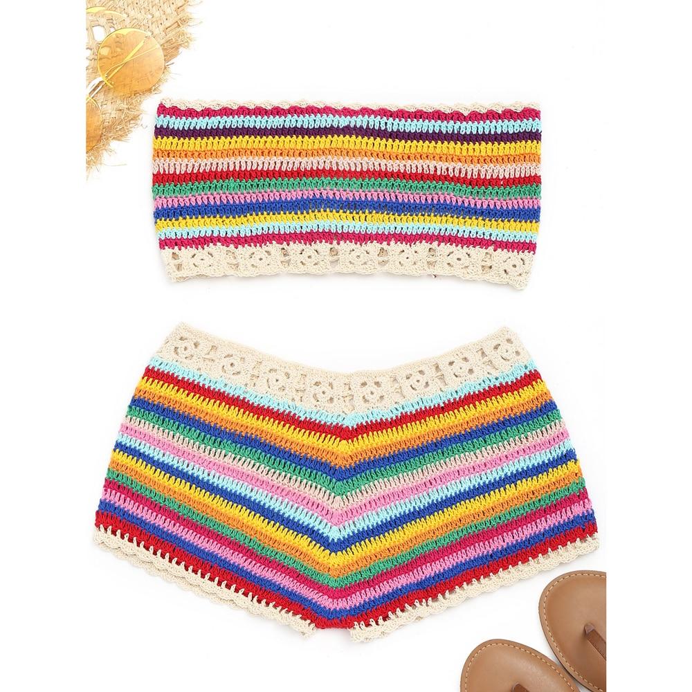 Zaful sin tirantes colorido crochet Top y Pantalones cortos mujeres ...