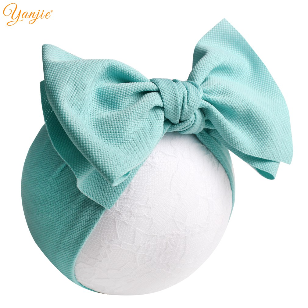 7'' Big Bows Texture Top Knot For Girls Chic Kids Spring Solid Wide Headband Hair Bow 2019 New DIY Hair Accessories Head wrap(China)