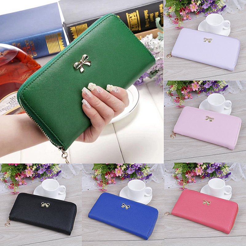 Women long wallet zip coin purse clutch handbag card holder wallets(China)
