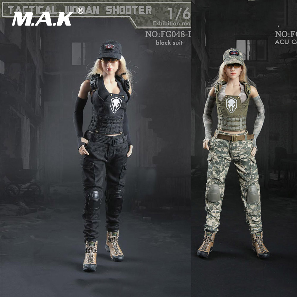 1/6 Scale Tactical Female Gunner Shooter Clothes Black/Camouflage Uniform Combat Suits For 12