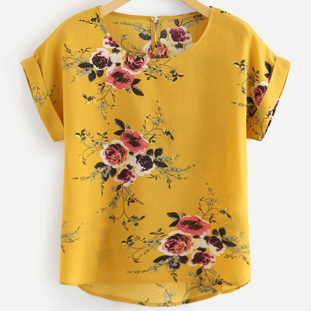 Korean Womens Tops And Blouses Women's Ladies Sexy O-neck Floral Print Short Sleeve Shirt Pullover Tops Modiskimono Cardigan