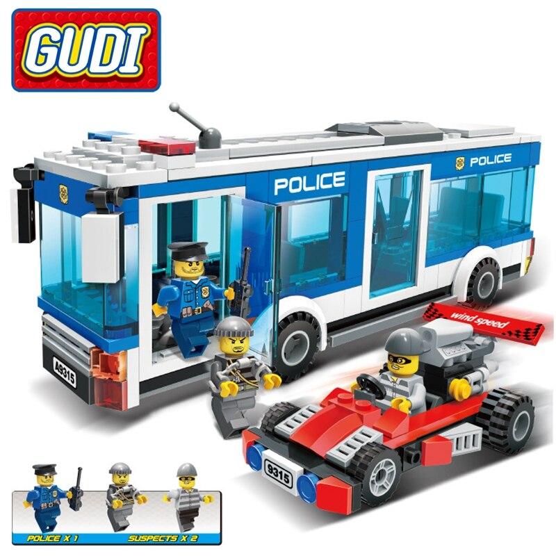 256Pcs Legoings City Police Station Bus Bricks Assemble Building Blocks Figures Playmobil Building Toys For Children