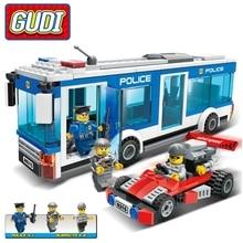 GUDI 256Pcs város rendőrség rendőrség busz téglák összeszerelés építőelemek Star Wars figurák játékok gyermek születésnapi ajándék