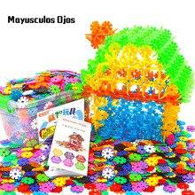 ZH 1 Set / 900PCS Storage Boxed Snowflake DIY Puzzle Insert Toy Building Blocks  3.3cm Thicken