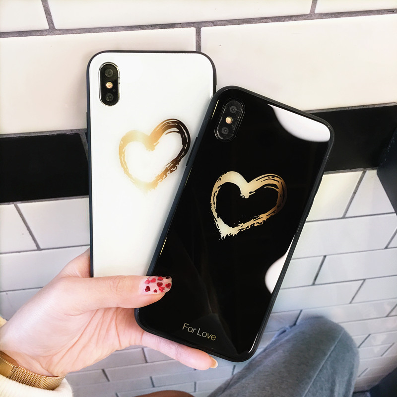 BONVAN Tempered Glass Case For iPhone X Lovely Heart Hard Back Cover Soft Silicone Bumper For iPhone 7 6S 8 Plus 6 Plus Cases09
