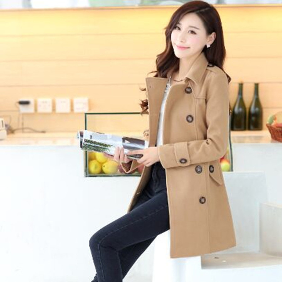 HLMFS 2018 autumn and winter woolen outerwear coat female double breasted overcoat women belt Jacket free