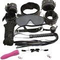 9 Pcs Black Soft Fur Lined Leather Premium Restraint Kits Fetish SM Bondage Wear Devices  Vibrating Discreet Mini Av Massager