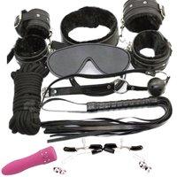 9 Sztuk Czarne Miękkie Fur Lined Leather Premium Zestawy Powściągliwość Bondage Fetysz SM Zużycie Urządzeń Dyskretny Mini Av Masażer Wibracyjny