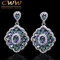 CWW Marca Mulheres Jóias Cristal Gota Azul Do Vintage Criado Rainbow Fire Místico Topaz Brinco Com Pedras Zircão CZ053