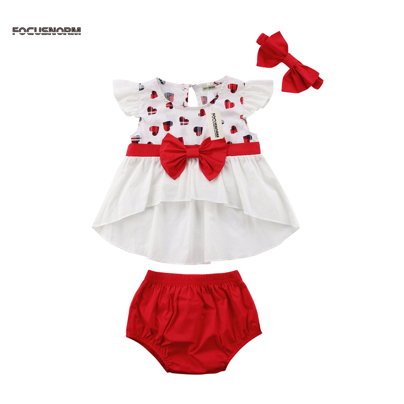 3PCS New Fashion Toddler Kids Baby Girl Clothes Outfits Short Sleeve Party Dress Sundress+ Short Pants US