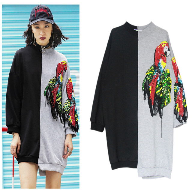 Women Long Casual Maxi Sweatshirts Unique Streetwear Birds Tassels  Embroidery Sequin Patchwork Tops Geek Rock Clothing NS569 8cf85d77a
