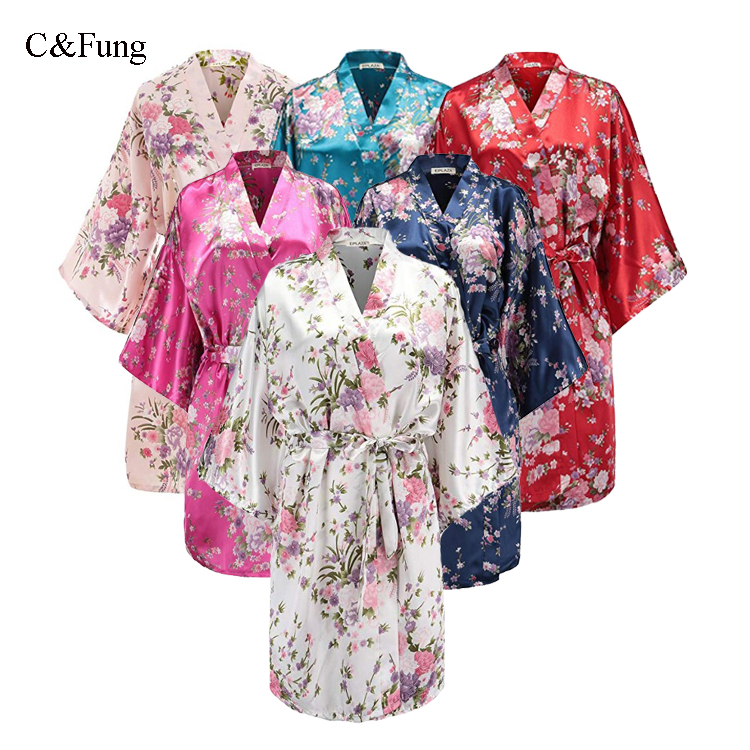 Wedding Day Rhinestone Satin HEN PARTY Bridal Bathrobe Kimono Dressing gown