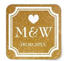 1.5inch Gold glitter monogram wedding favor stickers seals
