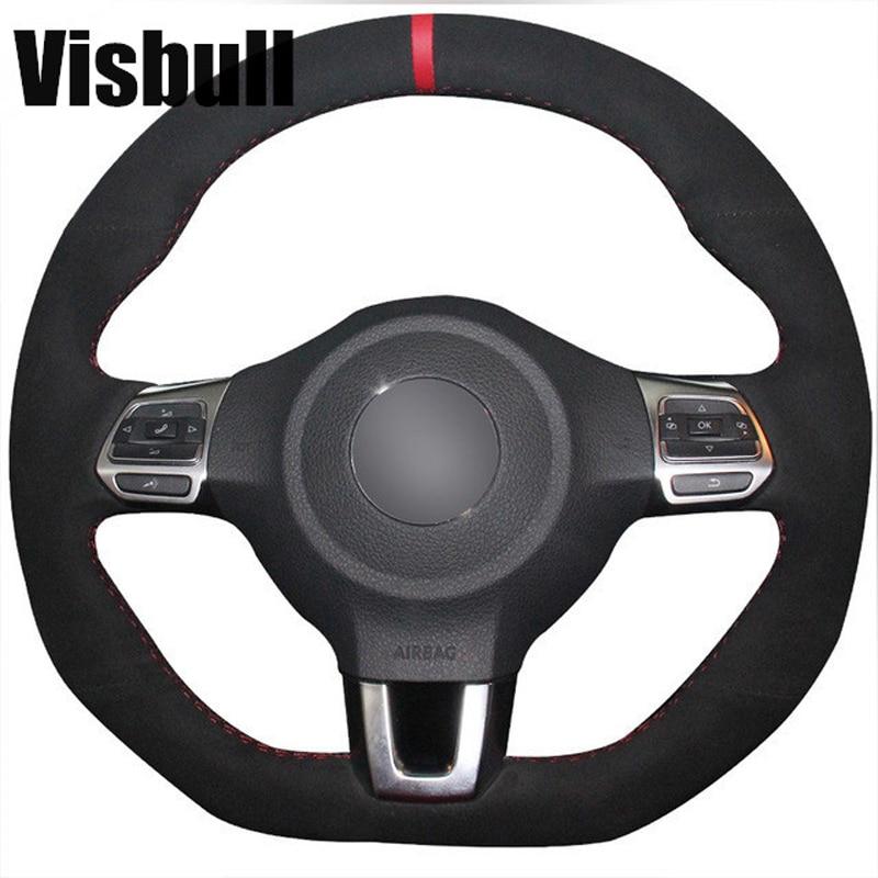 Visbull Suede Car Steering Wheel Cover V1027 for Volkswagen Golf 6 GTI MK6 VW Polo GTI