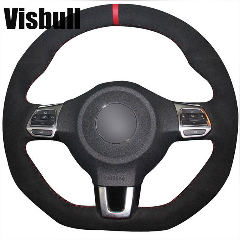 Visbull Suede Car Steering Wheel Cover V1027 for Volkswagen Golf 6 GTI MK6 VW Polo GTI Scirocco R Passat CC R Line 2010-in Steering Covers from Automobiles & Motorcycles    1