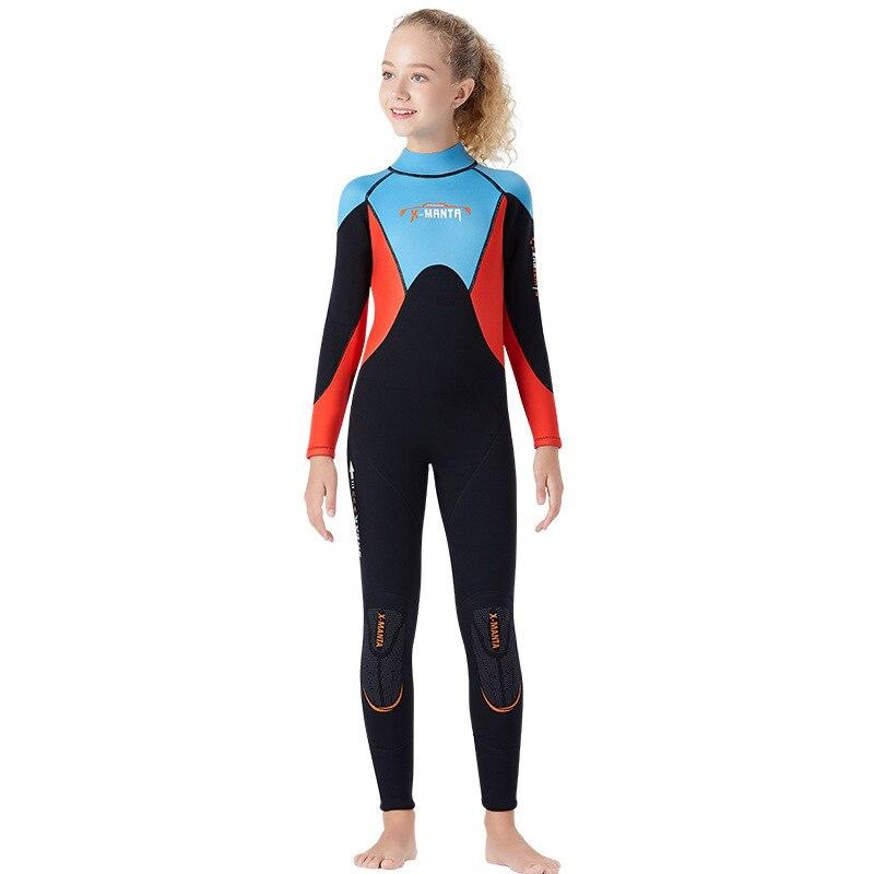 Подростковый цельный костюм для дайвинга с длинными рукавами 2,5 мм, неопреновый плотный теплый гидрокостюм для девочек, одежда для купания, Рашгард, костюм для подводного плавания и серфинга - Цвет: Черный