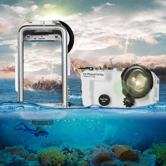 the best attitude 34c5f e234b US $126.56 19% OFF|40m/130ft Underwater Camera Waterproof Diving Case for  iPhone 6 7 8 Plus X Waterproof Cover For iPhone X 8 7 Swimming Cases-in ...