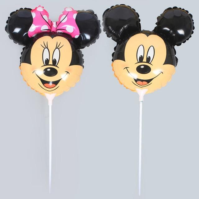 100 pcs 14.5 pouces mickey mouse et minnie conception de dessin animé foil ballon à l'intérieur bâton petit pour partie
