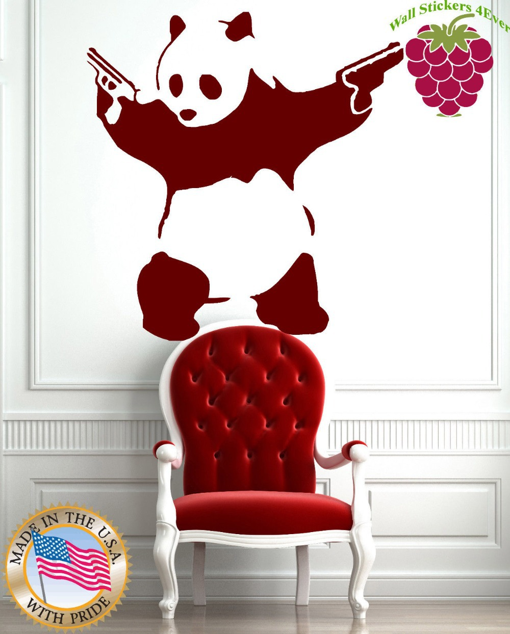Wall Sticker Vinyl Decal Animal Panda Bear Gangster Guns Funny