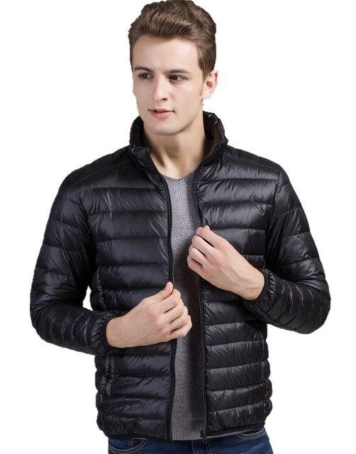 Invierno pato por los hombres chaqueta 90% Abajo Contenido ultra delgado luz hacia abajo chaqueta de invierno abrigos de invierno de manga larga sólido de bolsillo moda