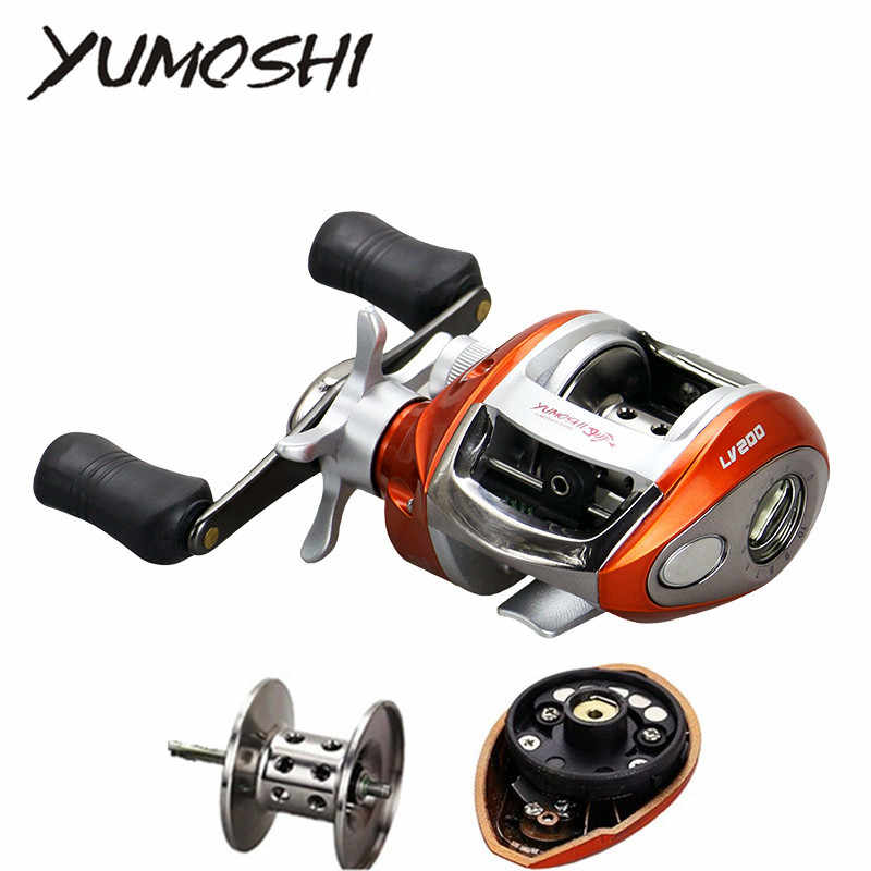 YUMOSHI LV200 LV201 12+1BB Ball Bearings Left/Right Hand Bait Casting Carp Fishing Reel High Speed Baitcasting Pesca 6.3:1