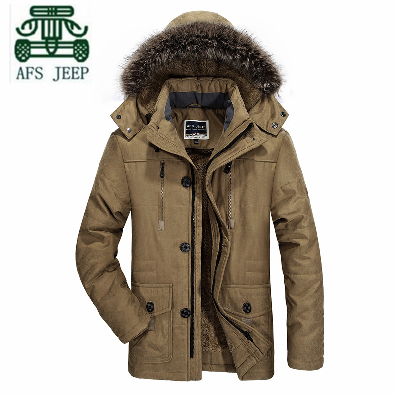 AFS JEEP 5XL 6XL Plus Size Winter 2016 Father Keep Warmly Coat Russian Winter Hooded Thickness