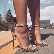 Liren 2019 Summer Fashion Sexy Lady Gladiator Sandals Buckle Bling Style High Heels Pointed Toe Party