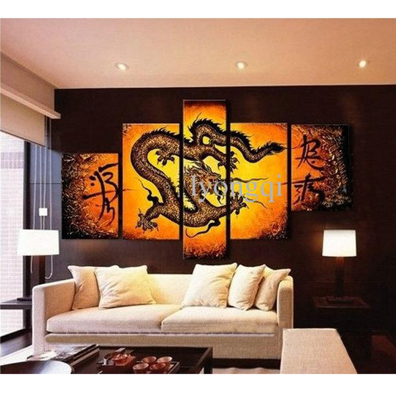 Peint à la main hi-q art mural moderne maison décorative peinture à l'huile animale sur toile dragon d'inondation 5 pièces/ensemble décor à la maison