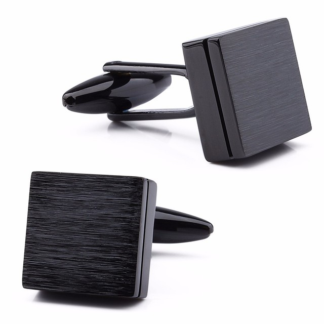 HAWSON Retailed Formal Brushed Cufflinks Mens Suit Shirt IP Black CuffLinks High Quality with Gift Box