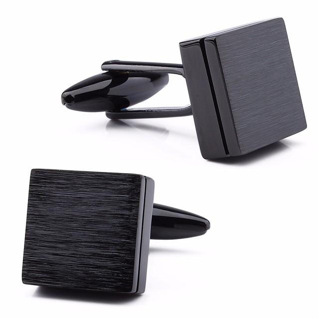 Formal Brushed Cufflinks Mens Suit Shirt Black High Box