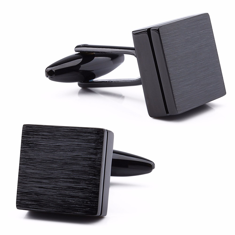 Retailed Formal Brushed Cufflinks Mens Suit Shirt IP Black CuffLinks High Quality with Gift Box