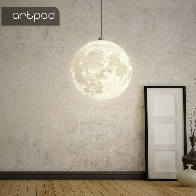 Artpad Creative Art Beautiful 3D Printing Night Light Moon Hanging Pendant Light Ball Restaurant Bedroom Living Room Dining Room