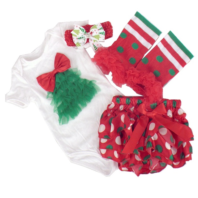 e3ff587d4 Red Baby Girls Christmas Tutu Set Bodysuit Ruffle Baby Bloomers Leg Warmers  Headband 4PCS Clothing Set
