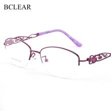 BCLEAR Lady Metal Alloy Hollow Half Rim Glasses Frames For Women Oval Brand Designer Optical Eyeglasses Fashion Eyewear 2019