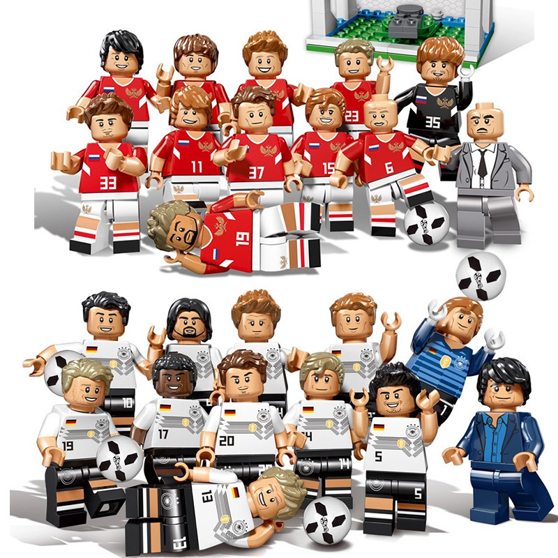 12pcs World Toys Football Team Sports Figures Building Blocks Compatible LegoING City Figures Education Toy Kids Christmas Gift