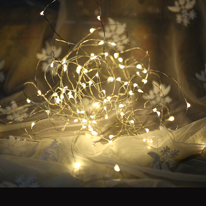 LED 2M Copper String Lamp Starry Beads DIY Fairy Lights 20 Leds Silver Cord Warm White Waterproof Wedding Party Home Decoration (6)