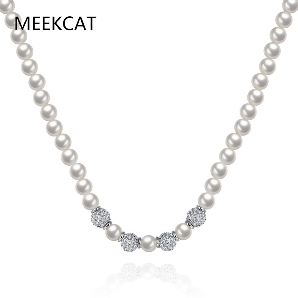 MEEKCAT Imitation Pearl Necklaces chokers With 3Pcs clear cz beads Necklace white gold Color Bijoux Femme Gift For Friends