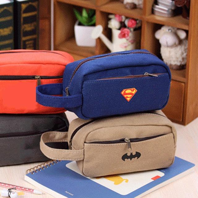 Pencil Case Creative Batman Superman Canvas Pen Bags Large Capacity Zipper  Pencil Bags School Supplies Office