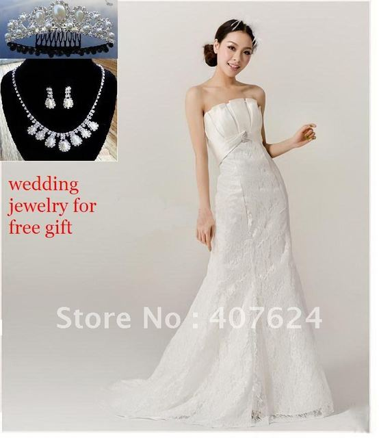 Free Shipping Wedding Jewelry Gift Stunning Trumpt Strapless Dresses Bridal Gowns