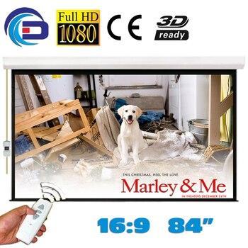 84 ''16:9 pantalla de proyección eléctrica de alta calidad pantalla proyeccion para LED LCD HD película proyector motorizado